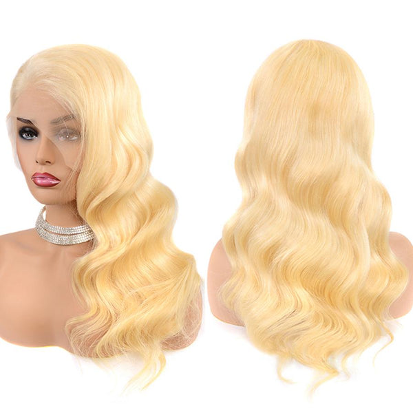 613 Blonde Body Wave Transparent Lace Front Human Hair Wig