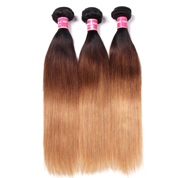 3 Tone Ombre Straight Human Hair 3 Bundles Weave 1b/4/27 Color