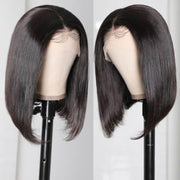 Klaiyi 13x4 Lace Front Wigs Short Straight Bob Youth Human Hair Wigs With Pre Plucked Hairline 150% Density