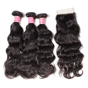 8A Grade Indian Natural Wave Human Hair Weave 3 Bundles with Free Part Lace Closure,4*4-Klaiyi Hair