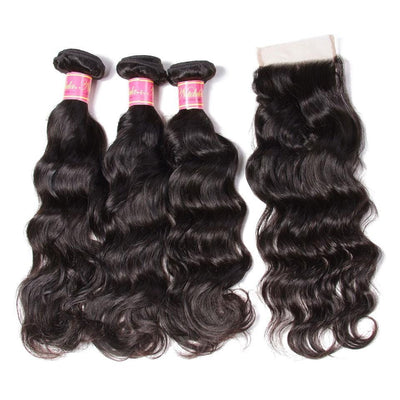 7A Grade Indian Natural Wave Human Hair Weave 3 Bundles with Free Part Lace Closure,4*4-Klaiyi Hair