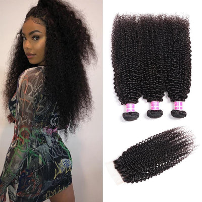 Brazilian Kinky Curly Hair 3 Bundles with 4*4 Lace Closure. 100% Virgin Human Hair Weaves on Sale-Klaiyi Hair