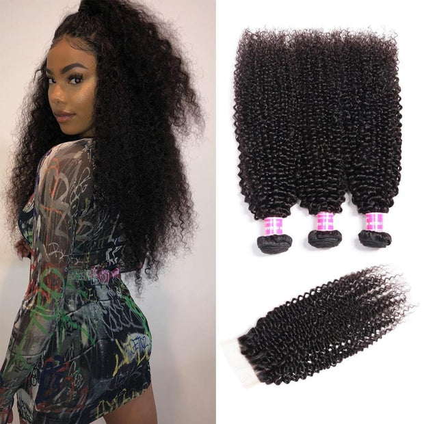 Klaiyi Hair Brazilian Kinky Curly Hair 3 Bundles with 4*4 Lace Closure 100% Virgin Human Hair Weave