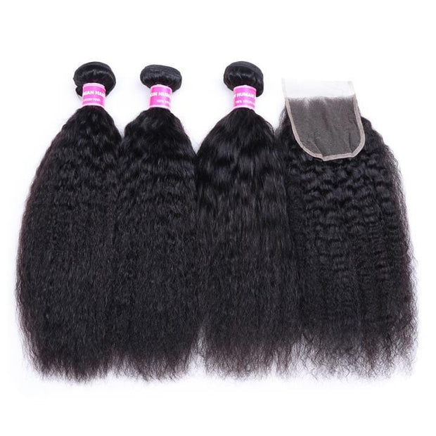 Klaiyi Hair Virgin Human Hair Peruvian Kinky Straight Hair 3 Bundles with 4*4 Lace Closure