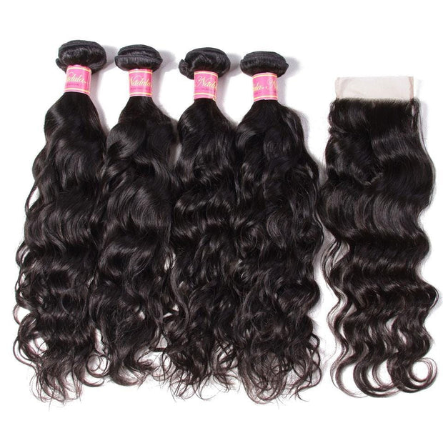 Malaysian Natural Wave 4 Bundles with Lace free Part Closure, 7A Grade Virgin Human Hair Weaves- Klaiyi Hair
