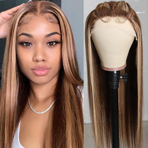 Klaiyi Honey Blonde Highlight Straight Human Hair Wigs Hand-Tied Three Part Lace Wigs with Baby Hair 150% Density