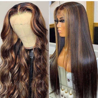 Klaiyi Shadow Root Bronde Highlight Human Hair Wigs #FB30 Balayage Blonde  Lace Front  Wigs