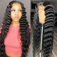 Klaiyi Loose Deep Wave 13x5 Middle Part Lace Front Wigs 100% Virgin Human Hair Wigs Pre Plucked with Babyhair