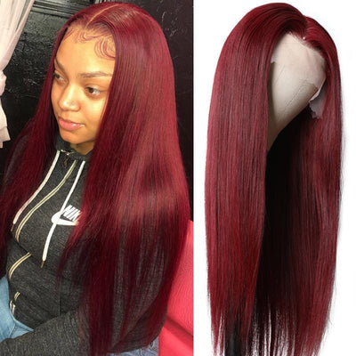 Klaiyi Dark 99J Burgundy Color 13x4 Lace Front Wigs Pre Plucked Long Straight Hair Best Virgin Human Hair Wigs
