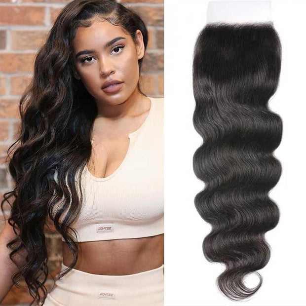 Klaiyi 5x5 HD Lace Closure Body Wave Transparent Lace Closure Invisible Knots Virgin Human Hair Closure