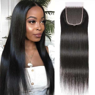 Klaiyi 5x5 HD Lace Closure Straight Hair Deep Parting Transparent Lace Closure Invisible Knots Virgin hair Closure