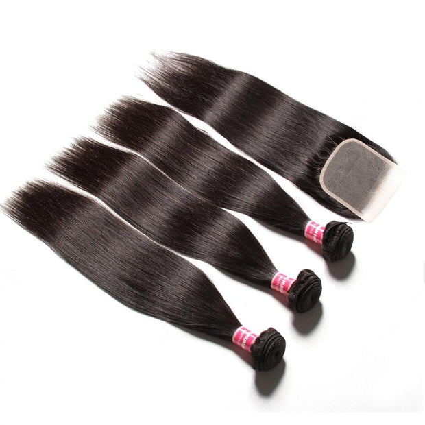 Brazilian Straight Hair 3 Bundles with 4*4 Transparent Lace Closure