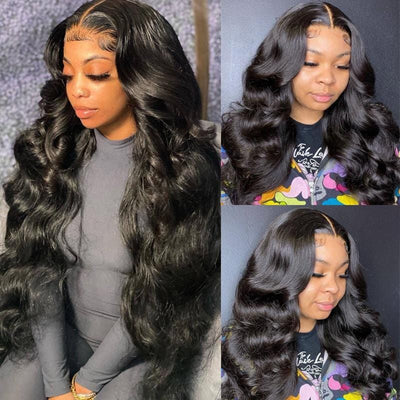 Klaiyi 13x6 Swiss HD Invisible Lace Wigs Body Wave Human Hair Wigs Pre-plucked Natural Hairline 180% Density