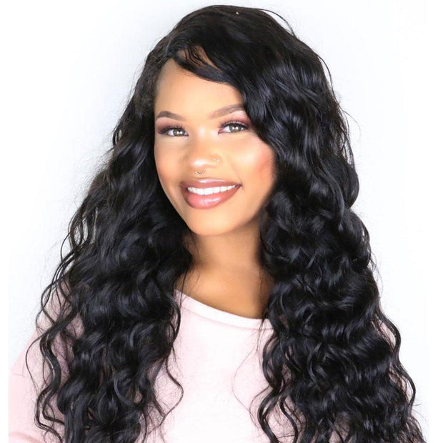 Peruvian Natural Wave 3 Bundles with Lace Frontal Closure,7A Grade Virgin Human Hair Weave