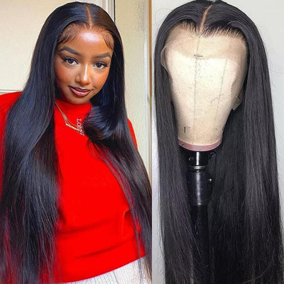 Klaiyi Remy Hair 13*4 Lace Front Wigs Straight Hair Wig With Pre Plucked Hairline 150% Density Youth Series