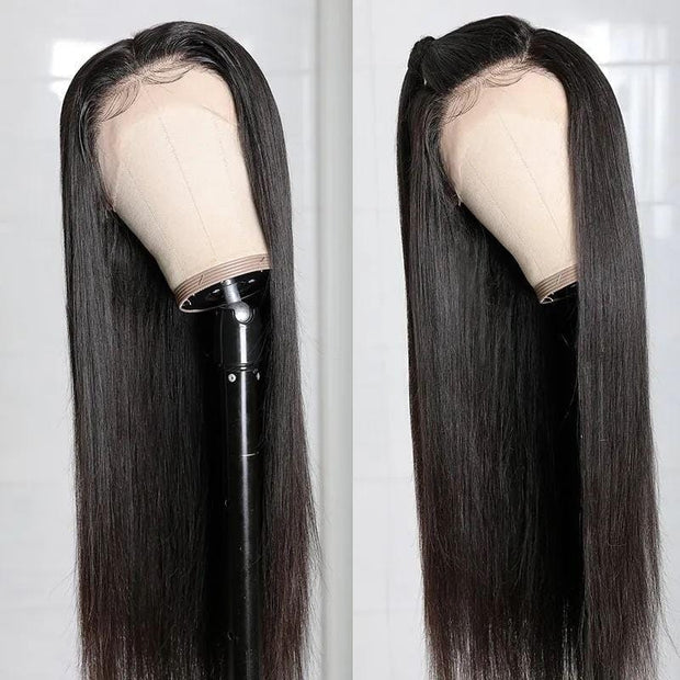Klaiyi 13*6 Swiss Human Hair Lace Front Wigs 180% Density Straight HD Lace Wigs Pre Plucked Natural Hairline