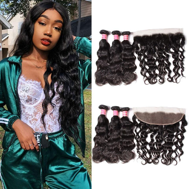 7A Grade Virgin Malaysian Natural Wave 3 Bundles with Ear to Ear Lace Frontal Closure-Klaiyi Hair
