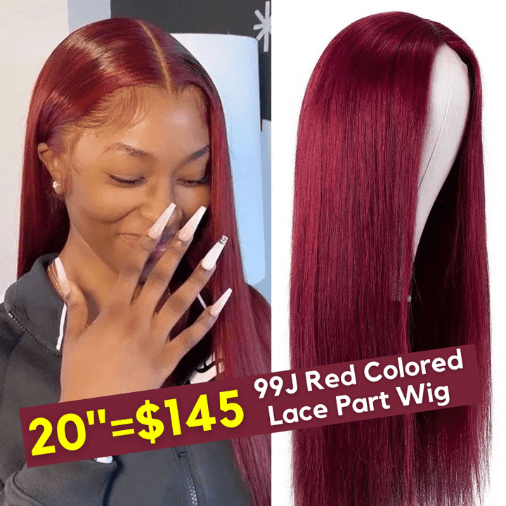 99J Burgundy Color 4 by 4 Lace Closure Part Wig 150% Density FLASH SALE BOMB Price