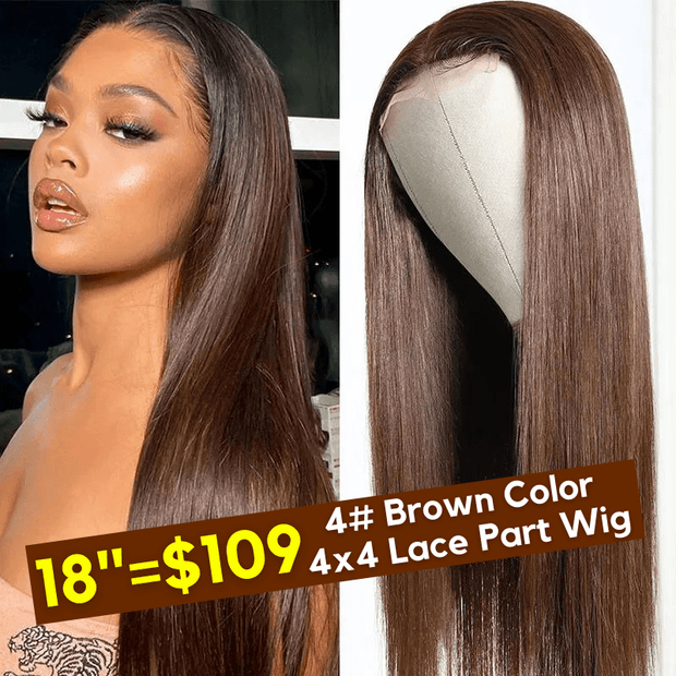 Flash Sale For Trendiest Chocolate Brown 4# Colored 4x4 Lace Part Human Hair Wigs Low to $109
