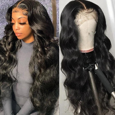 Klaiyi High-Quality Body Wave 13x4 HD Lace Front Wigs With Baby Hair 100% Real Human Hair Wigs 180% Density