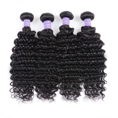 Klaiyi Remy Hair Brazilian Hair Weave 4 Bundles Deep Wave Bundles 10-26 Inch Youth Series