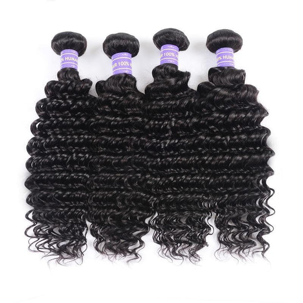 Klaiyi Youth Series 4 Bundles Natural Black Brazilian Deep Wave Human Hair Bundles With Closure