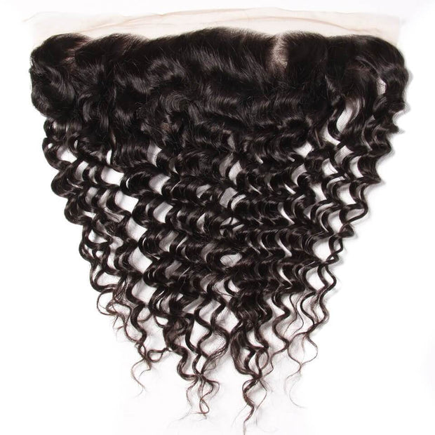 Klaiyi Brazilian Deep Wave Frontal with 3 Bundles Virgin Human Hair