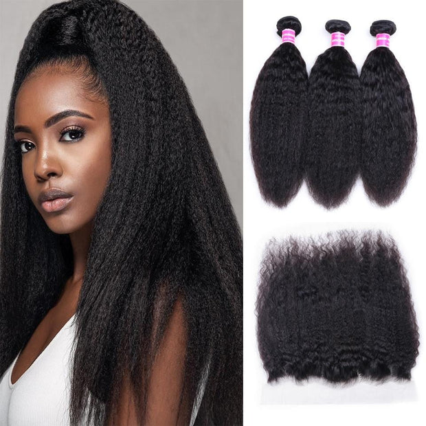 Brazilian Kinky Straight Hair 3 Bundles with Lace Frontal Closure