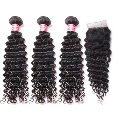 Klaiyi Brazilian Deep Wave 3 Bundles with 4x4 Lace Closure 100% Virgin Human Hair Weaves on Sale
