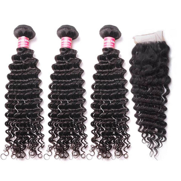 Klaiyi Brazilian Deep Wave Virgin Hair 4x4 Free Part Lace Closure with 3bundles Weave