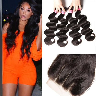 Klaiyi Human Hair Virgin Indian Body Wave Weave 4 Bundles With Lace Closure