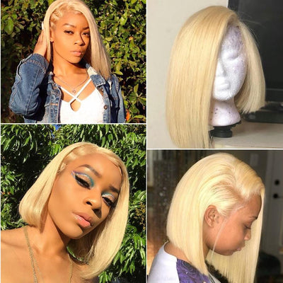 Klaiyi Hair 9A Grade 13*4 613 Blonde Bob Lace Front Wigs, 150% Density Human Hair Wigs