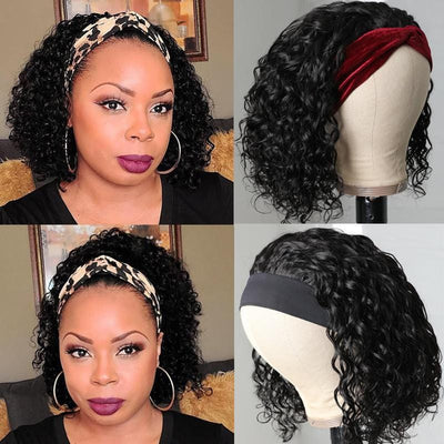 Klaiyi Short BOB Headband Scarf Wig Water Wave Human Hair Wig Glueless Easy Wear & Go Wigs