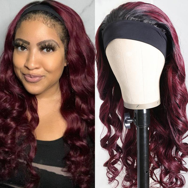 Klaiyi Chic 1B/99J Burgundy Color Body Wave Headband Wigs Glueless Human Hair Wigs 150% Density