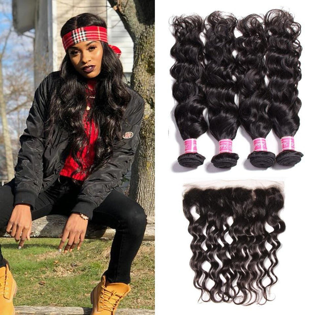 Brazilian Natural Wave 4 Bundles with 13*4 Ear to Ear Lace Frontal Closure Deals