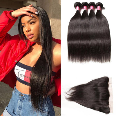 Indian Straight Hair 4 Bundles with Lace Frontal Closure Deals- Klaiyi Hair