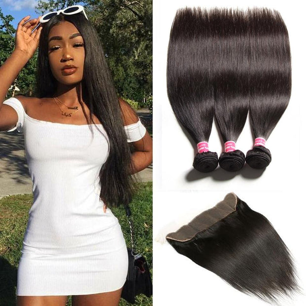 Peruvian Straight Hair 3 Bundles with 13*4 Ear to Ear Lace Frontal Closure Deals-Klaiyi Hair