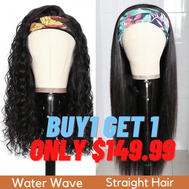 Flash Sale: Buy 1 Get 1 Free Headband Wigs Water Wave And Straight Hair Headband Wig Bulk Sale With Gifts