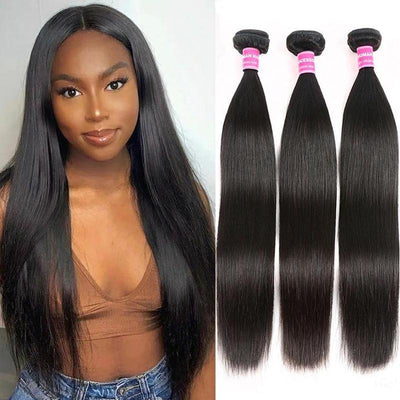 Klaiyi 3 Bundles Brazilian Straight Virgin Human Hair 100% Unprocessed Virgin Human Hair Extension