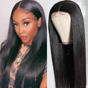 Klaiyi Hair Lace Wigs Straight Hair Hand Tied Lace Part Wig With Baby Hair Pre-plucked Natural Hairline
