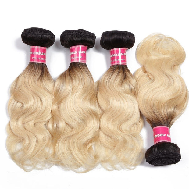 Klaiyi 1B/613 Body Wave Ombre Hair 4 Bundles with 13*4 Frontal Closure, 2 Tone Color Human Hair Weave Extensions For Sale