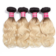 4 Bundles Body Wave 1b/613 Ombre Hair Weave , 2 Tone Color Ombre Human Hair Weaves