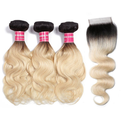 1b/613 T Color Light Blonde Hair Body Wave 3 Bundles with 4*4 Lace Closure