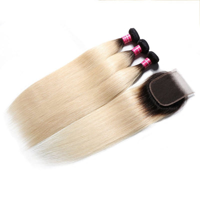 1b/613 T Color Light Blonde Straight Hair 3 Bundles with 4*4 Lace Closure
