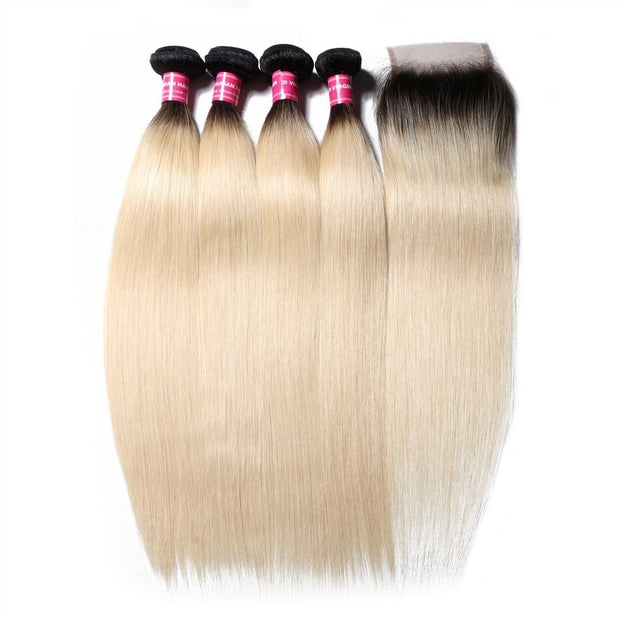 1B/613 Straight Ombre Hair 4 Bundles with 4*4 Closure, 2 Tone Color Human Hair Weave Extensions For Sale