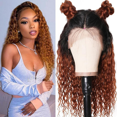Klaiyi 9A Ombre Color Curly Lace Front Wigs T1B/30 Curly Human Hair Wigs Preplucked 13x4 Lace Frontal Curly Wigs Natural Hairline 150% Density