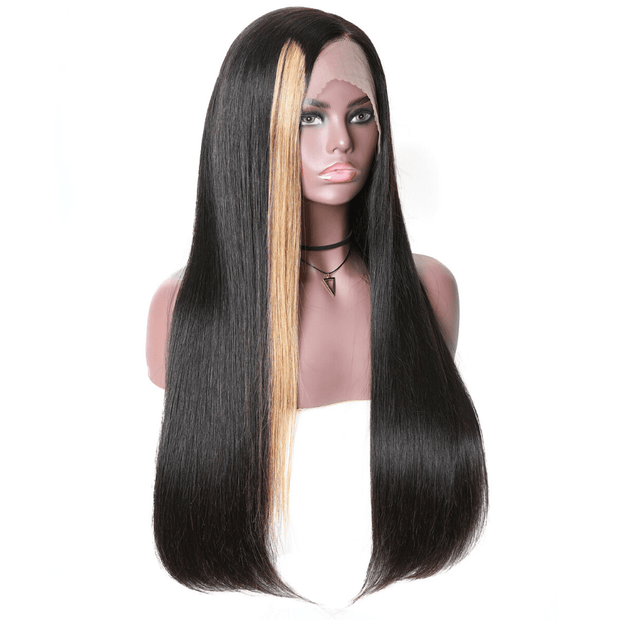 Klaiyi 9A Honey Blond Highlight Straight Lace Front Wigs Side Part 150% Density Straight Bob Wigs