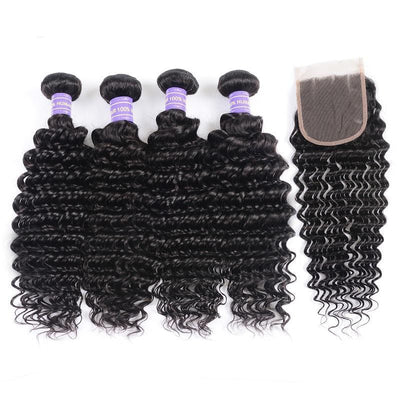 Klaiyi Remy Hair 4 Bundles Natural Black Brazilian Deep Wave Human Hair Bundles With Closure Youth Series