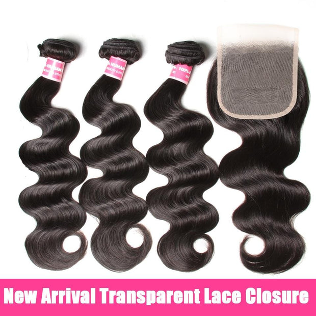 Brazilian Body Wave 3 Bundles with 4*4 Transparent Lace Closure