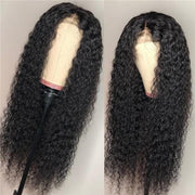 Klaiyi Hair Brazilian Lace Part Wigs Long Curly Fake Scalp Wig 100% Human Hair Realistic Human Hair Wigs 150% Density